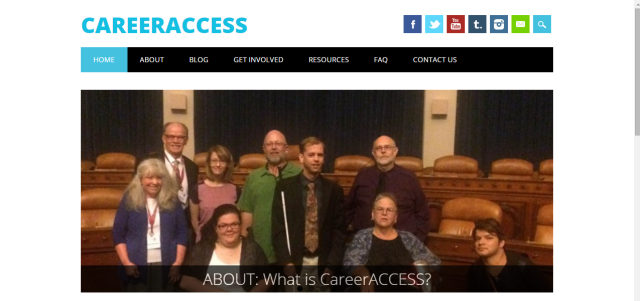 Link to the CareerACCESS website; image of the homepage of the CareerACCESS website