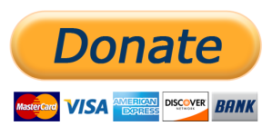 "Link to PayPal; image of Donate icon which reads: ""MasterCard, Visa, American Express, Discover, Bank."""