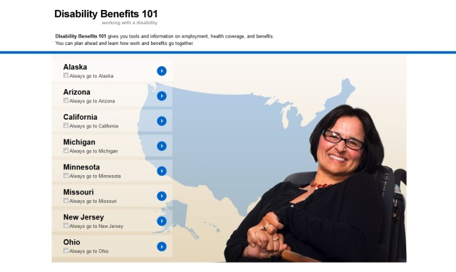 Link to the DB101 website; image of the homepage of the DB101 website, featuring the states listed out and a smiling woman in a wheelchair