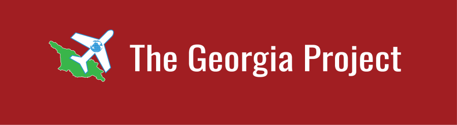 Text overlay: The Georgia Project. Outline of the country of Georgia with airplane and WID globe icons.
