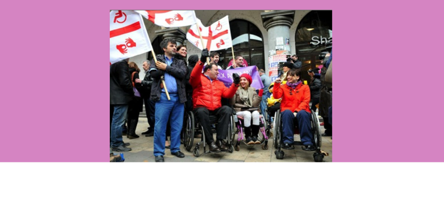 A group of people standing and in wheelchairs wave flags for disability rights