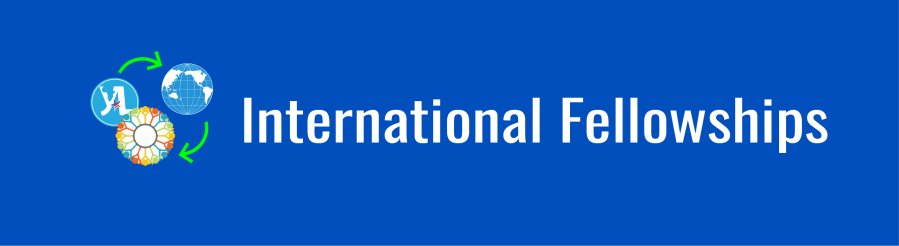 Banner with text overlay: International Fellowships. Logos for Community Solutions Program and the Young African Leadership Initiative (YALI), with arrows showing mutual exchange between the two logos and the WID globe.