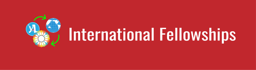 "White text on dark red background. ""International Fellowships"". Icons of YALI logo, IREX Community Solutions Program logo, the WID globe, and two green arrows showing the exchange between international orgs and WID."