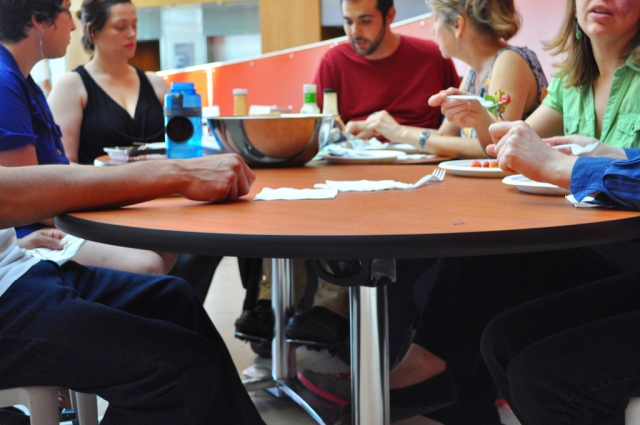 Link to Disability FEAST article; image of a round table where several people with disabilities gather to eat and talk