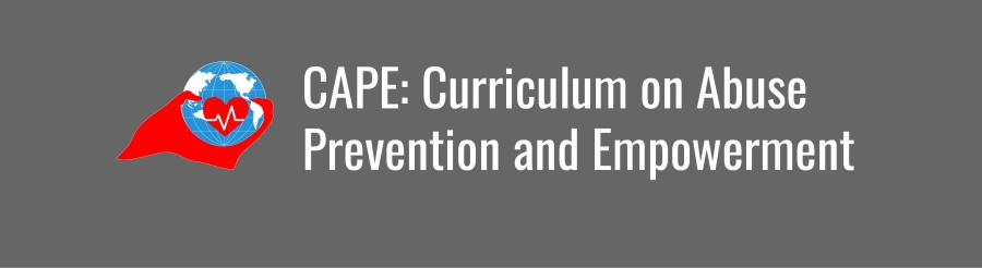 CAPE: Curriculum on Abuse Prevention and Empowerment banner. Icon of WID globe with red cape and heart