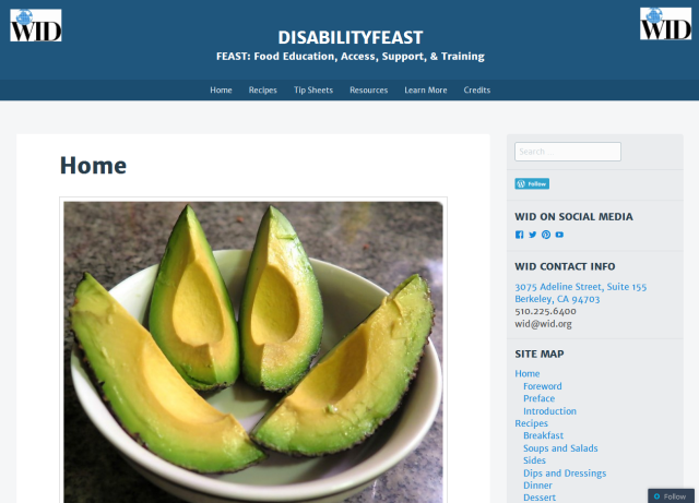 Link to the Disability FEAST website; image of the homepage of Disability FEAST, featuring a bowl of avocado slices