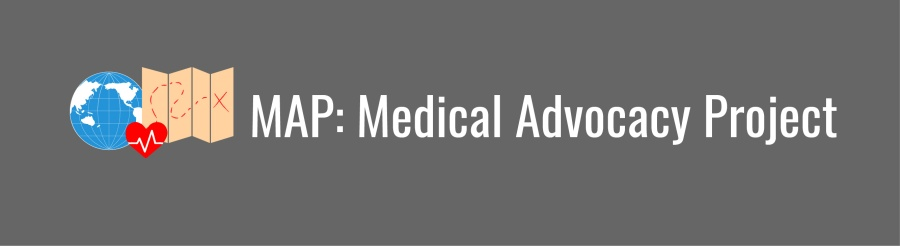 MAP: Medical Advocacy Project banner. Icon of WID globe, heart, and map with red markings