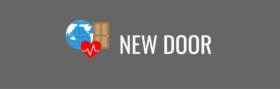 NEW DOOR banner; graphic of a blue globe, brown door, and red heart on gray background