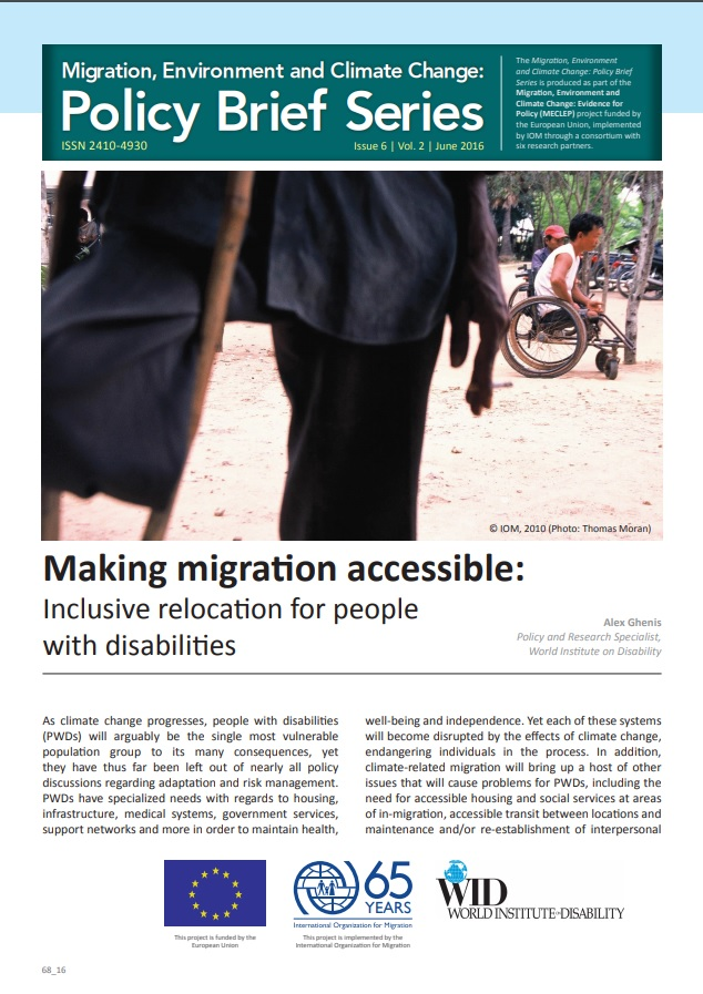 """The cover of a policy paper titled """"Making Migration Accessible."""" Includes an image of an amputee using a wheelchair on a beach."""