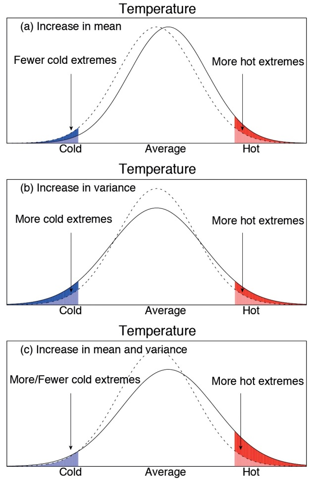 "a series of 3 graphs comparing a range of temperatures. Each has a current ""bell curve"" distribution of cold to hot temperatures, with a second bell curve showing different climate scenarios. The first, ""increase in mean,"" has the bell curve shifted slightly to the right and has ""fewer cold extremes"" and ""more hot extremes."" The second, ""increase in variance,"" shows a shorter and wider new bell curve with ""more cold extremes"" and ""more hot extremes."" A final graph, ""increase in mean and variance,"" shows a shorter and wider graph that is shifted to the right, has about the same cold extremes and dramatically more hot extremes."