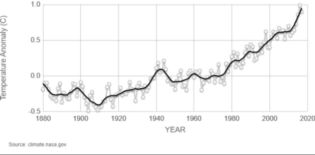 """This graph shows the change in average temperature for every year from 1800 through 2017, with """"temperature anomaly"""" on the vertical axis (from -0.5°C to 1.0°C) and """"year"""" on the horizontal axis. A black trend-line shows the temperature dip slightly between 1800-1910, and then increases until reaching almost 1°C in 2017."""