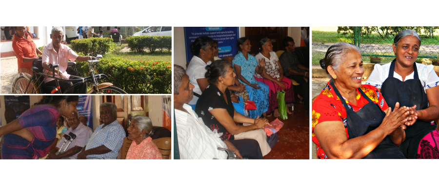 A collage of photos of members at an ESCAT Senior Citizen Club meeting.