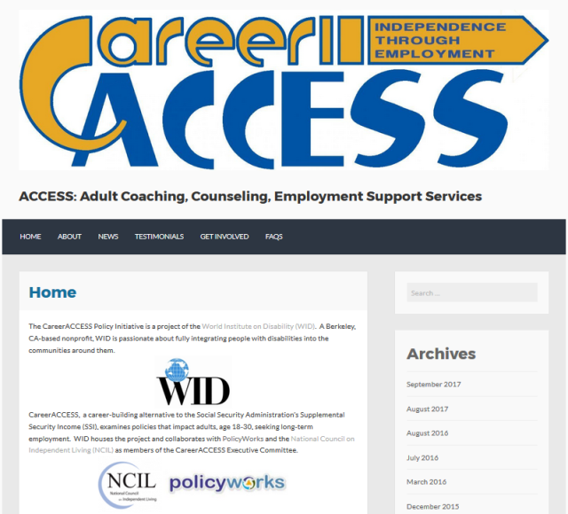 Link to the CareerACCESS website; image of the homepage of the CareerACCESS website, featuring the logo and intro text