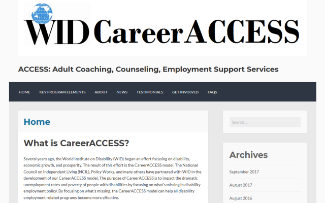 Link to the CareerACCESS website; image of the homepage of the CareerACCESS website.