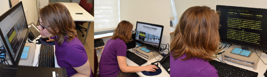 A woman uses screen magnification software to view a beta site