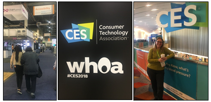 A collage of three photos: Anita Aaron being guided through the accessibility section of the exibit floor, CES 2018 Whoa logo, Kat Standing in front of large CES sign.