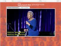 A video of a woman speaking shows in an Internet browser window