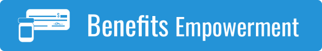 Link to Benefits Empowerment; graphic of a white check on a blue background