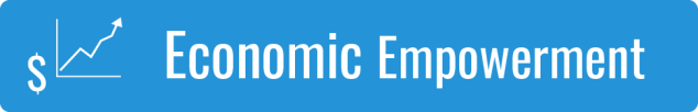 Link to Economic Empowerment; graphic of a white dollar sign and graph on a blue background
