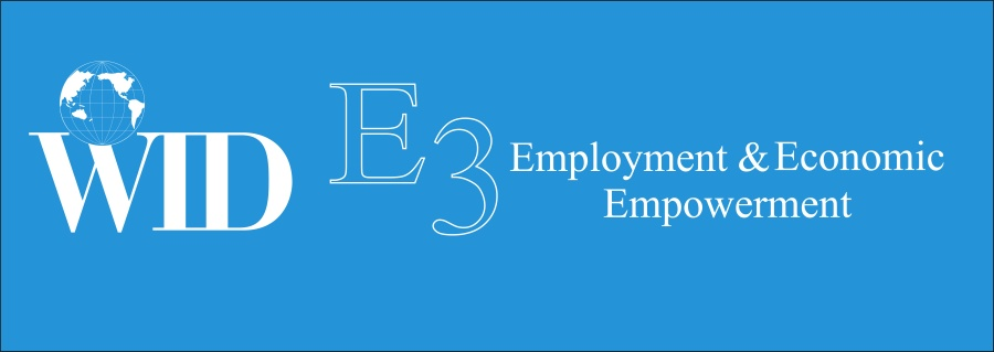 WID E3 Employment and Economic Empowerment, with white WID logo, white text, and blue banner.