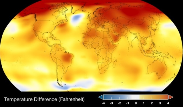 """A map of the globe with colors from blue through white through yellow, orange and red. The colors represent """"temperature difference (Fahrenheit)"""" with blue as -4°F and dark red as 4°F. Most of the world is some shade of yellow, orange or dark red, with Alaska, Russia, and the North Pole being the warmest."""