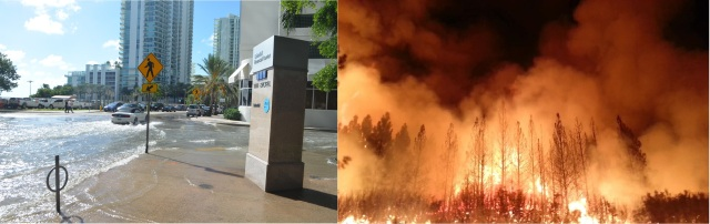Two photos of disasters. On the left, a silver car drives through a slightly flooded street in Miami, and a multi-story apartment building is visible in the background. On the right, a picture of a wildfire at night, with many trees engulfed in flames and large plumes of smoke.