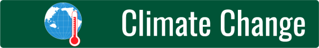Link to Climate Change page; graphic of a blue globe and red thermometer symbol on dark green background