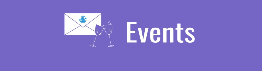 Events banner; graphic of white envelope with blue world and white wine glasses on lavender background