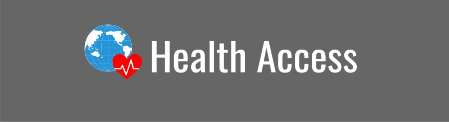 Health Access banner; graphic of a blue globe and red heart on gray background