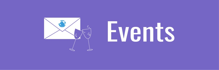 Events banner. Icons of envelope and two wine glasses.