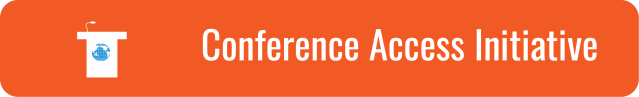 "Link to Conference Access Initiative page. White text on orange background. ""Conference Accessibility Initiative"". Graphic of a white podium with a blue WID world on the front."
