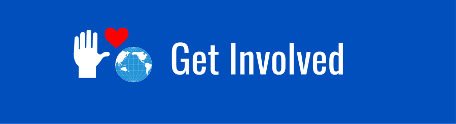 """White text on dark blue background. """"Get Involved"""". Icons of WID globe, white hand, and red heart."""