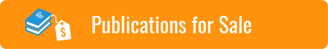"""Link to Publications for Sale page; White text on light orange background. """"Publications for sale"""". Graphic of blue book with WID logo and white price tag."""