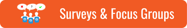 "Link to Surveys and Focus Groups page. Orange background and white text. ""Surveys and Focus Groups"". Icons of 3 silhouetted heads & shoulders of people with blue clipboards with the WID globe, with speech bubble over their heads with a red X, black question mark, and green checkmark respectively."