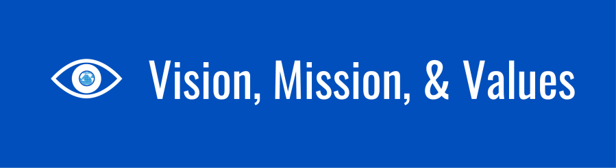 Vision, Mission, & Values banner. Icon of an eye with the WID globe as the pupil.