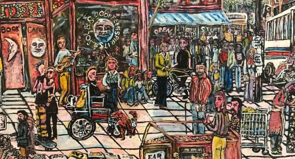 Painting depicting a scene of downtown Berkeley, including a wheelchair user with their service dog, as well as merchants selling jewelry at a street faire.