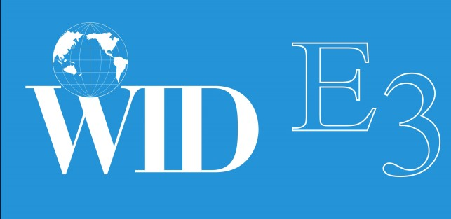 WID E3 logo-a white Globe and E3 in white letters