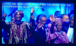 "Group of Black people smiling and waving, captions read ""Ladies and gentlemen, these are the members of the congressional black caucus"""