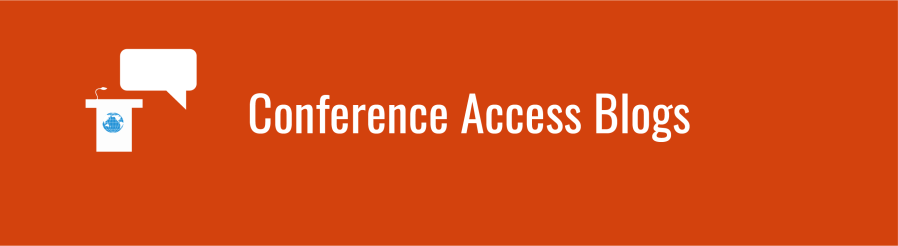 Text overlay: Conference Access Blogs. Podium icon with small WID globe, next to chat bubble, over deep orange background.