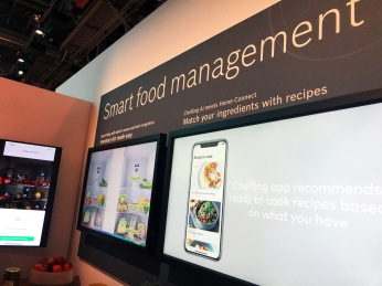 Displays showing smart fridge images, with text, reads: Smart food management. Refrigerator with built-in camera and local recognition, inventory made easy. Chefling AI meets Home Connect, match your ingredients with recipes.