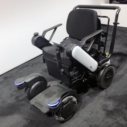 Black and gray smart wheelchair with light-up sensors.