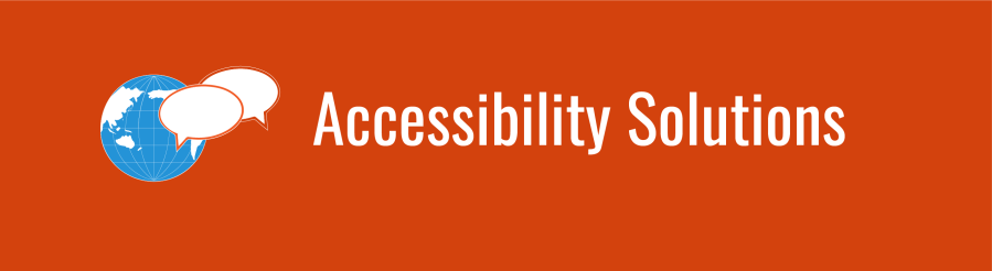 Accessibility Solutions banner with WID globe and 2 chat bubble icons over a deep orange background.