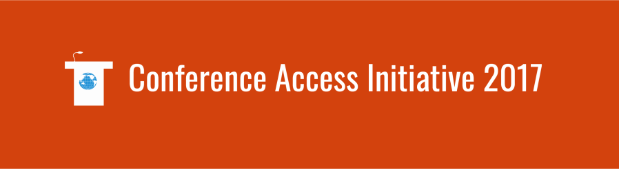 Text overlay: Conference Access Initiative 2017. Podium icon with small WID globe, over deep orange background.