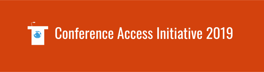 Text overlay: conference access initiative 2019. Podium icon with small WID globe, over deep orange background.