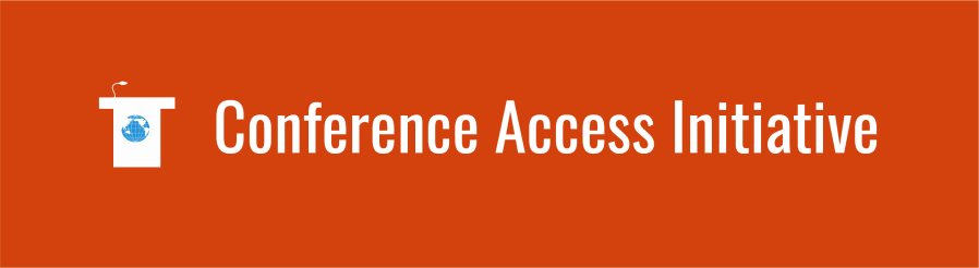 Text: Conference Access Initiative with podium icon over deep orange background.