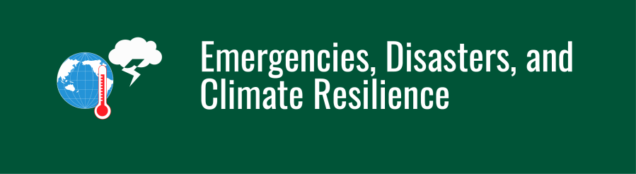 Emergencies, Disasters, and Climate Resilience banner. WID globe with thermometer and storm cloud icons.