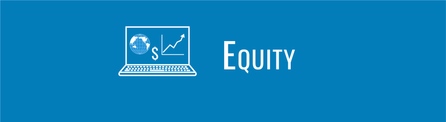 Text overlay: EQUITY. Icons of laptop with WID globe and tiny graph showing money/equity increasing over time.