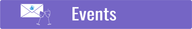 Link to Events page; white envelope with WID globe next to pair of champagne glass icons over purple background.