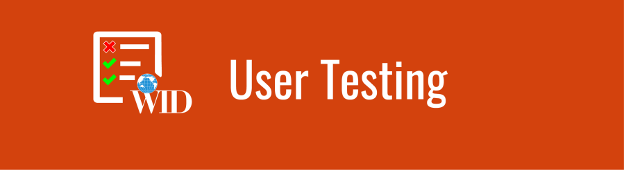 User Testing banner with checklist icon over deep orange background.