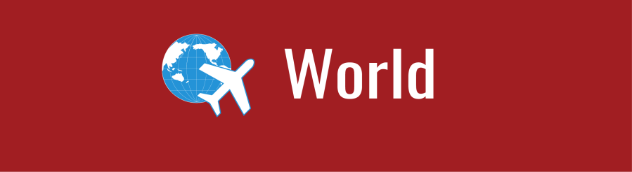Banner with text: World, with icon of an airplane and WID globe over dark red background.